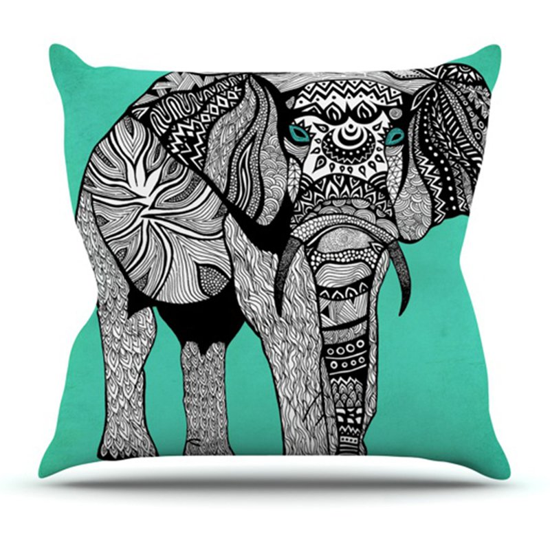 Kess InHouse Pom Graphic Design Elephant of Namibia Color Outdoor Throw Pillow