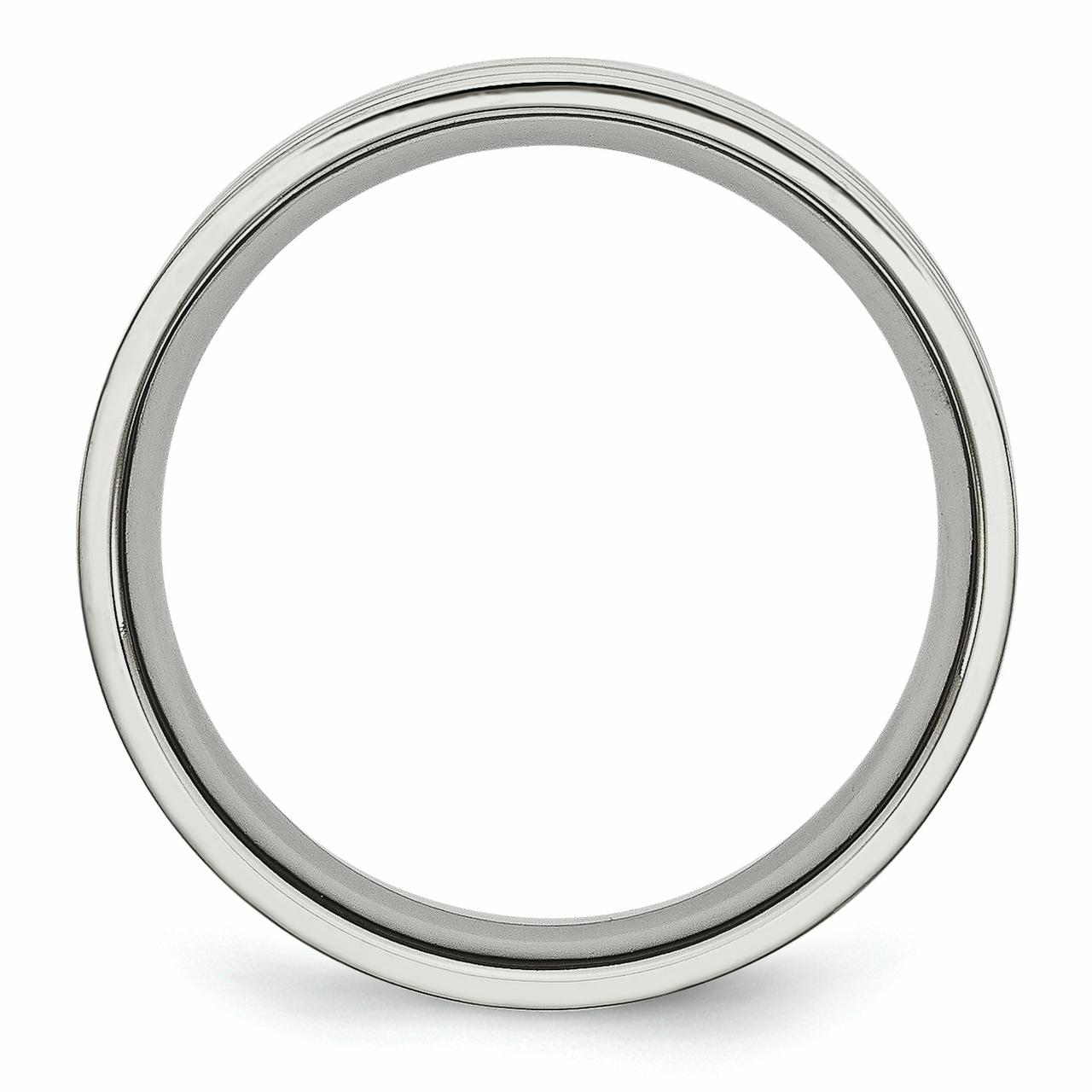 Stainless Steel Grooved 6mm Wedding Ring Band Size 9.00 Fashion Jewelry Gifts For Women For Her - image 3 de 6
