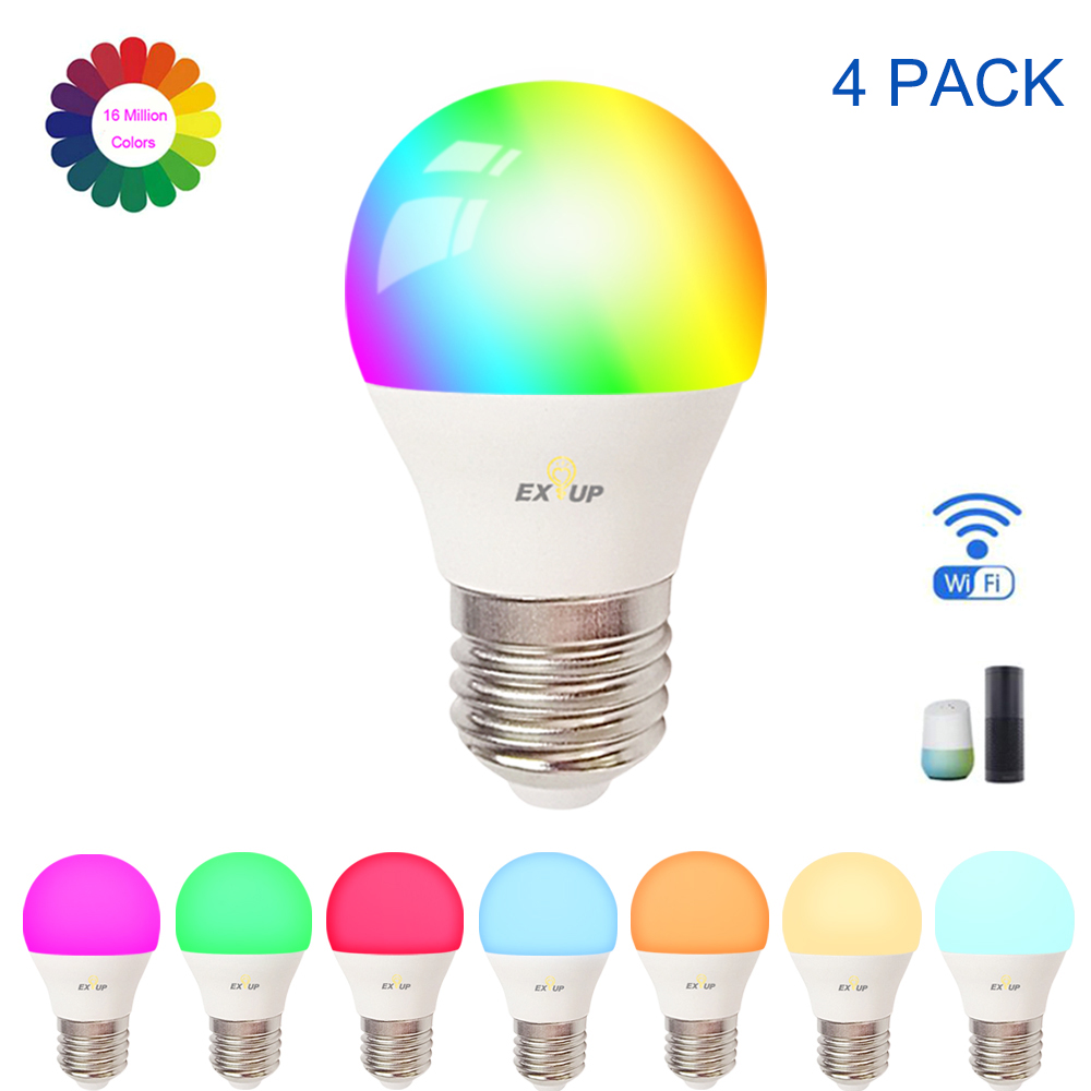 Walmeck AC100-240V 9W Intelligent Wi-Fi LEDs Bulb Lamp Smartphone APP /& Voice Control with E26//E27 Base RGB//White//Warm White Lighting for Home Party Restaurant Decoration 2pack