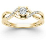 1/20 Carat T.W. Diamond Criss-Cross Shank Cluster 10kt Yellow Gold Engagement Ring