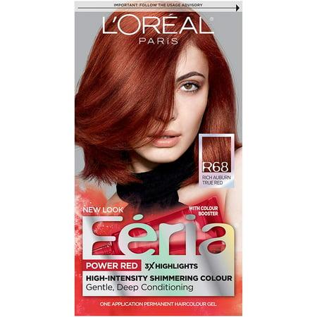 L'Oréal Paris Feria Multi-Faceted Shimmering Permanent Hair Color, R68 Ruby Rush (Rich Auburn True Red) (1 Kit) Hair Dye, FERIA IS MULTI-FACETED PERMANENT HAIR.., By LOreal Paris - Is Auburn Red