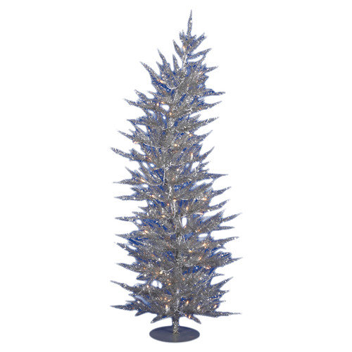 Vickerman Colorful Laser 4' Silver Artificial Christmas Tree with 70 Clear Lights