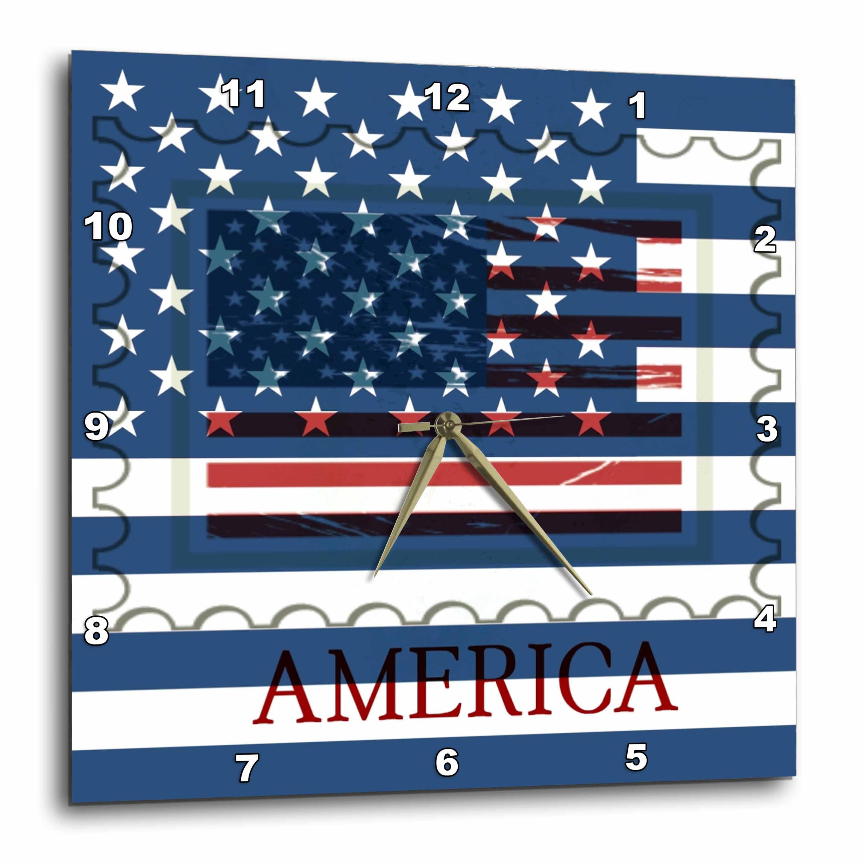 10 x 10 3dRose DPP/_172697/_1 American Flag P Wall Clock