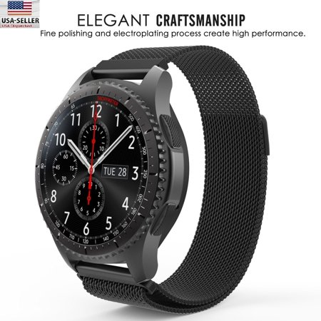 Black Milanese Magnetic Loop Steel Band For Samsung Galaxy Watch 46mm R800 R810 and Gear S3 Classic Smartwatch