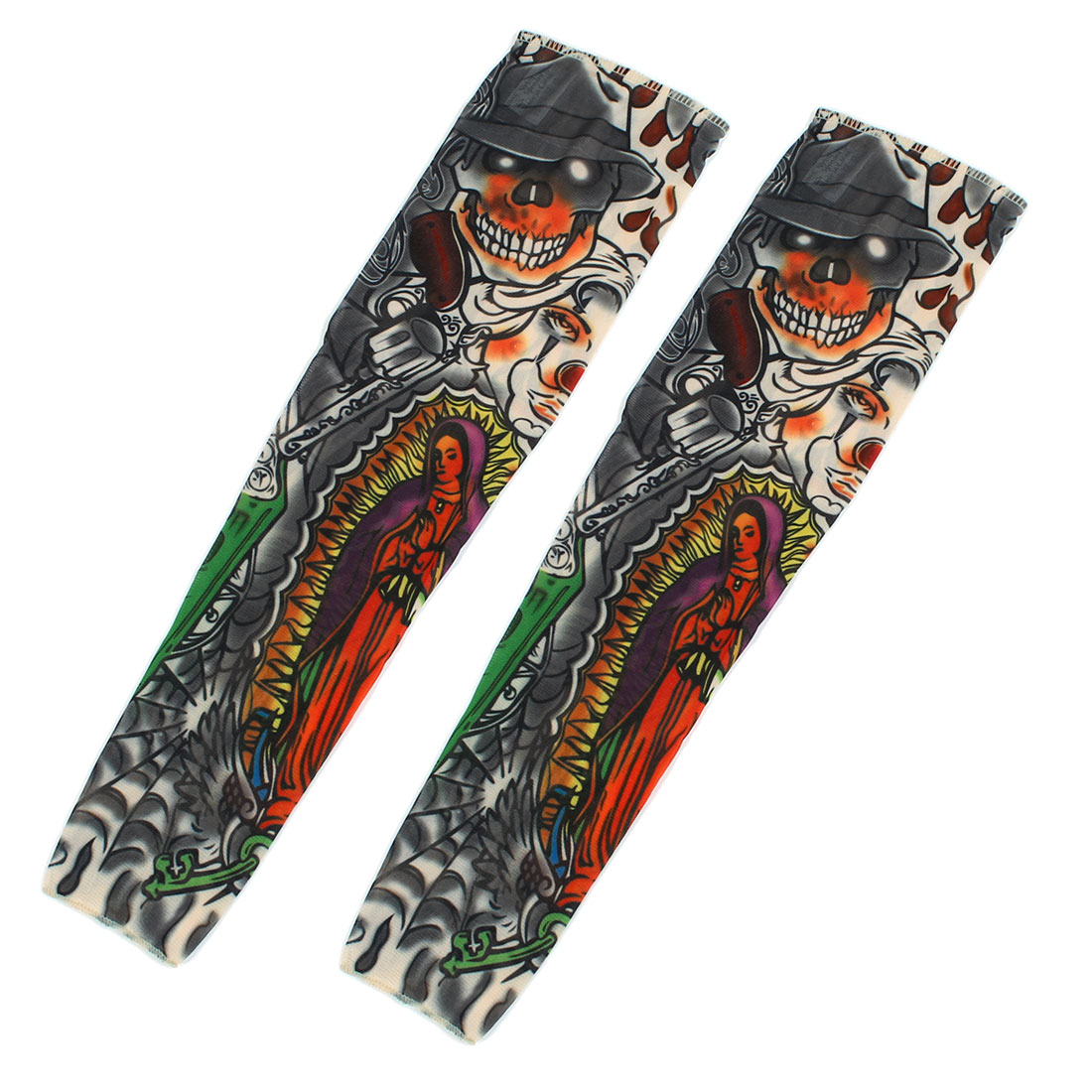 1 Pair Summer Stretchy Unisex Skull Pattern UV Sun Protection Tattoo Arm Sleeves