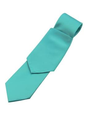 Men's Solid Satin Neck Tie and Hankie Set in Teal