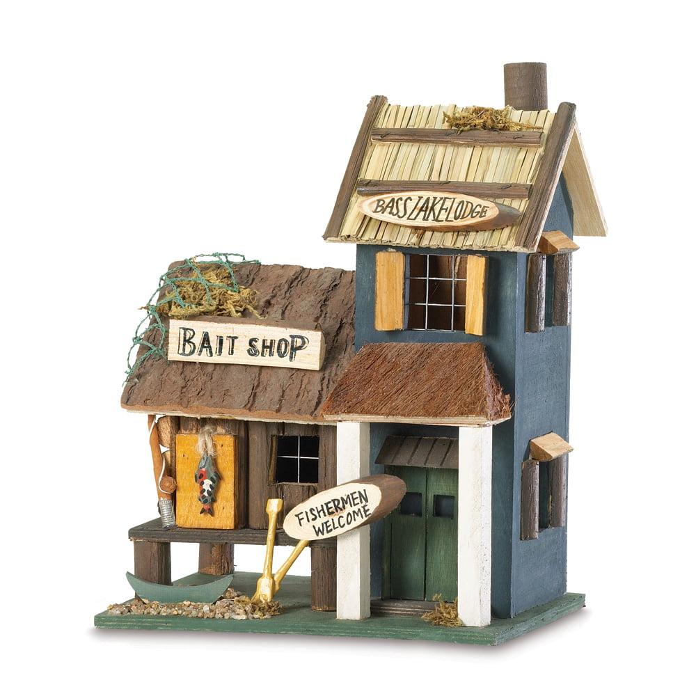 Wooden Birdhouse, Decorative Bass Lake Lodge Hummingbird Bird House Wood