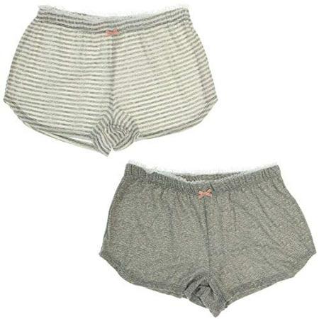 Marilyn Monroe Intimates Soft Dreamy Pajama Shorts (2Pr) (Large, Heather Grey & White Stripes)