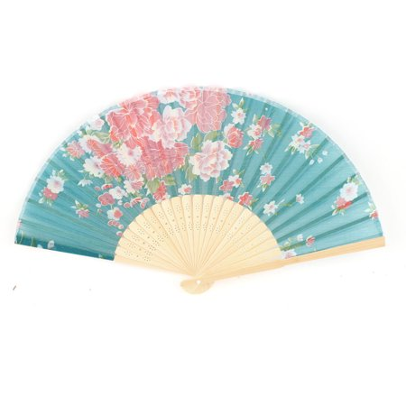 Folding Hand Fan - Chinese Style Bamboo Ribs Fabric Flower Print Folding Hand Fan Green