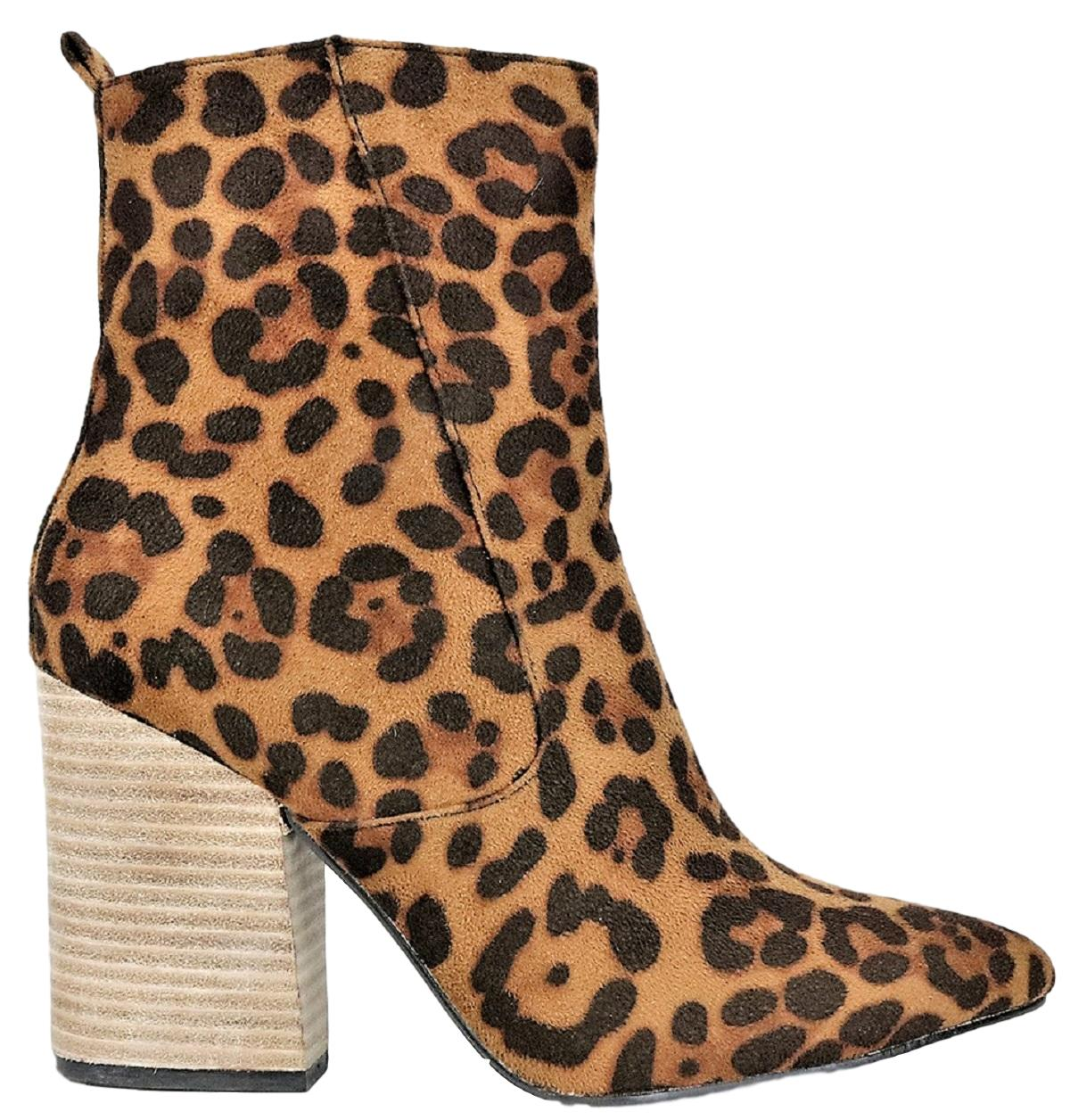 Harmony-01 Women Western Pointed Toe Block Heel Side Zipper Ankle Boots Leopard
