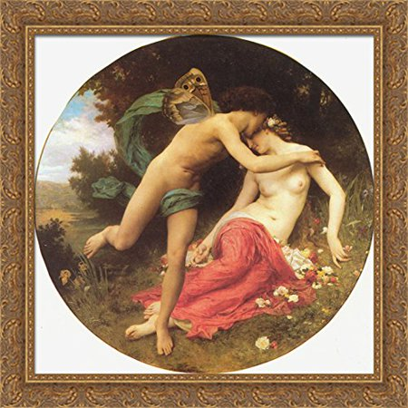 Flora and Zephyr 28x28 Large Gold Ornate Wood Framed Canvas Art by William Adolphe Bouguereau
