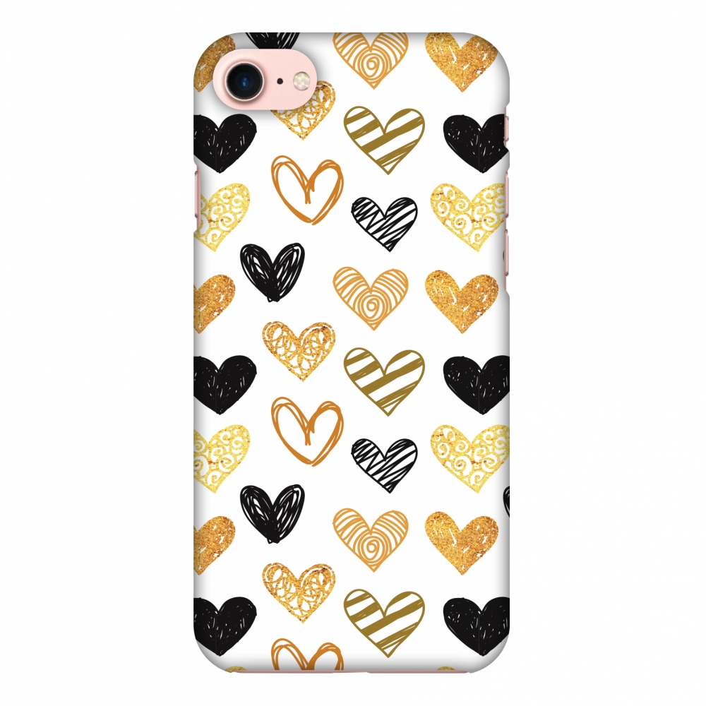 iPhone 8 Case - I Heart Hearts, Hard Plastic Back Cover. Slim Profile Cute Printed Designer Snap on Case with Screen Cleaning Kit