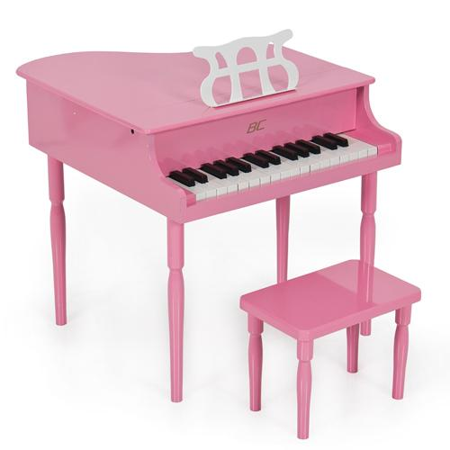 Pink Childs Grand Piano with Kids Bench of Solid Wood Construction