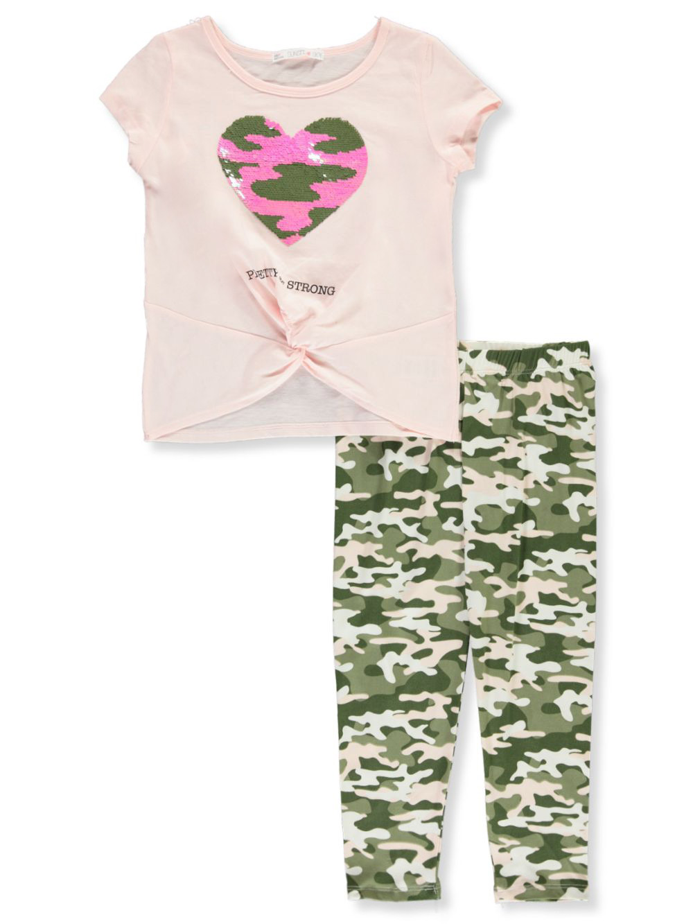 Leggings Floral  3D Hearts Size REDUCED Baby Girls 2 Piece Outfit Set T Shirt