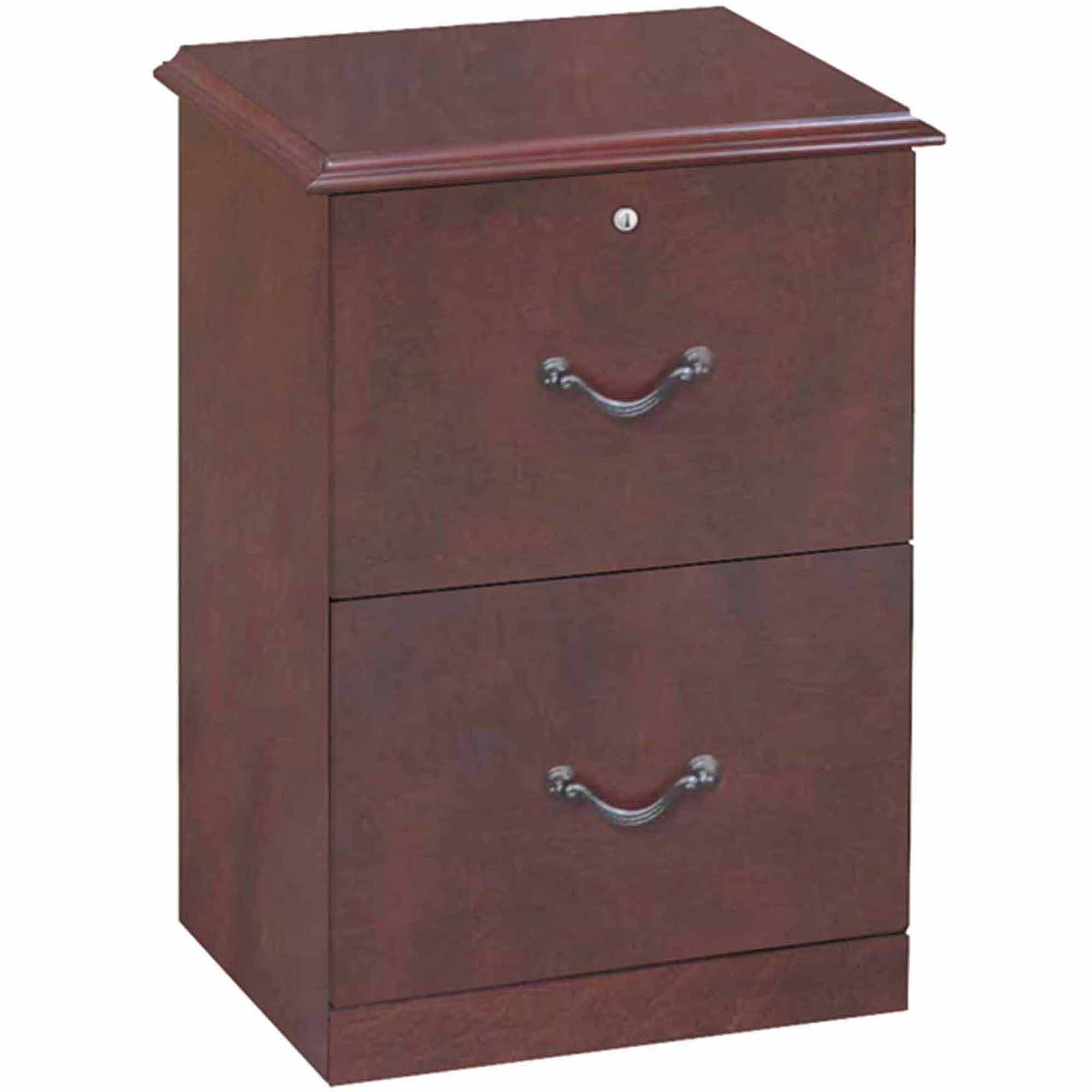 2 Drawer Vertical Wood Lockable Filing Cabinet, Cherry