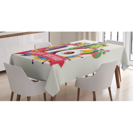 16th Birthday Decorations Tablecloth, Geometric and Urban Effects Celebration Funky Modern Artsy Design, Rectangular Table Cover for Dining Room Kitchen, 60 X 84 Inches, Multicolor, by Ambesonne - Funky Table Decorations