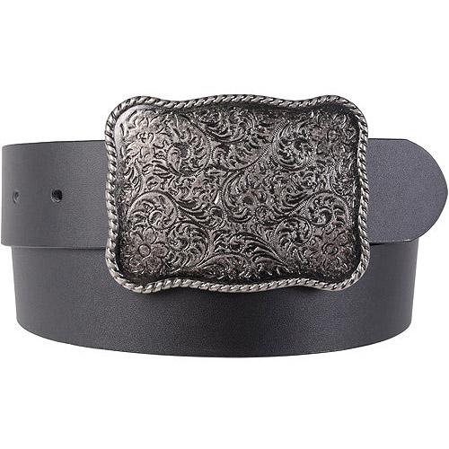 Brinley Co Women's Metal Scroll Flower Design Buckle Belt
