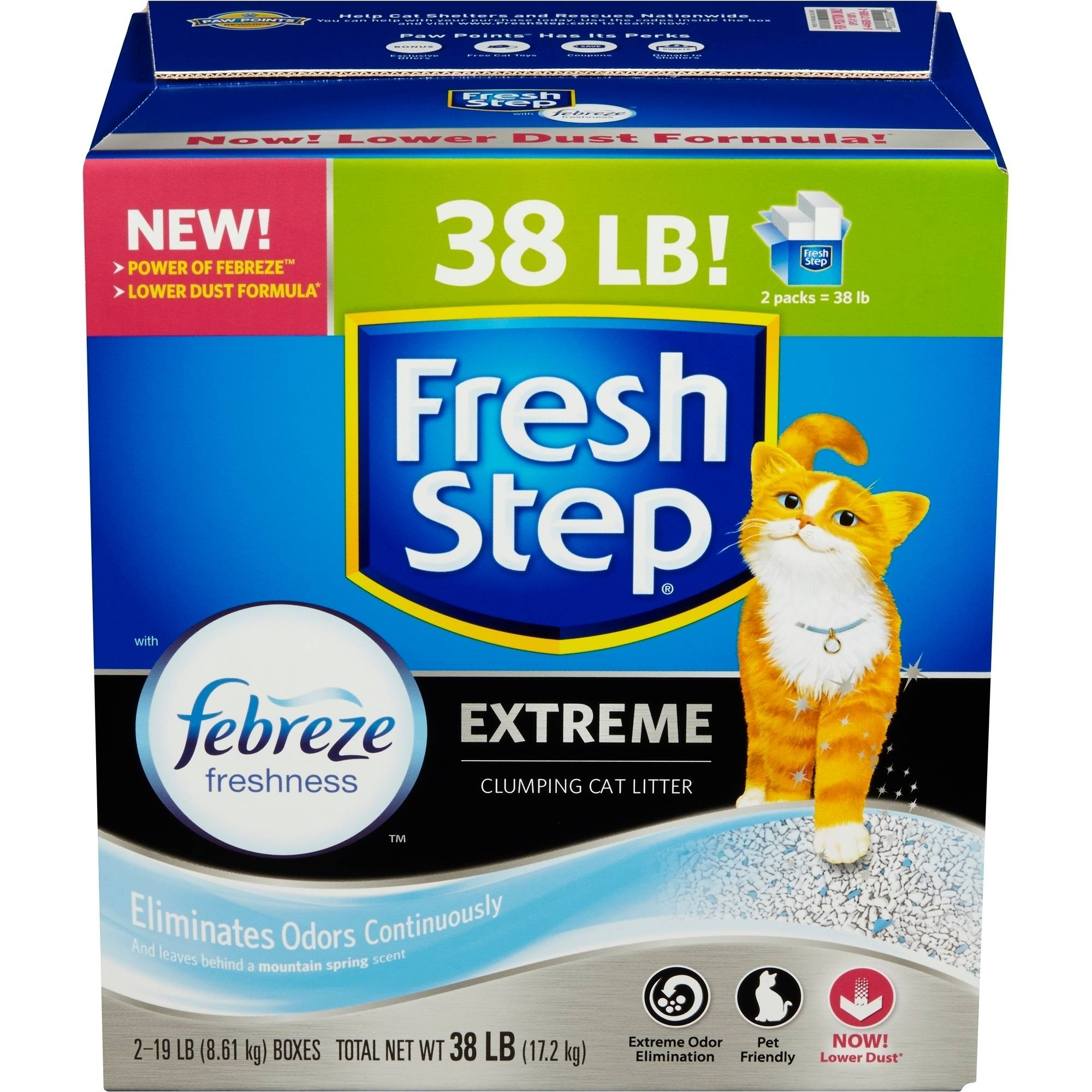 Fresh Step Extreme Odor Control Scoopable Cat Litter, 38 Pounds