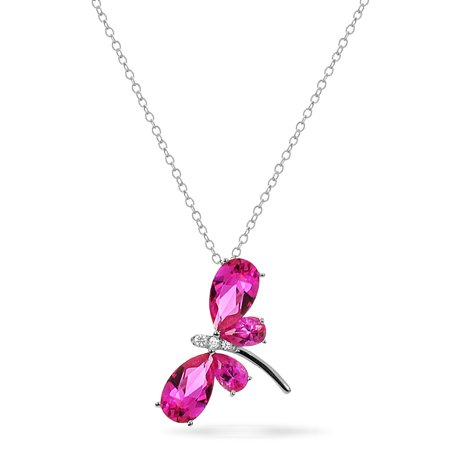 Dragonfly Pins (Sterling Silver Created Pink Sapphire Dragonfly Necklace 18 Inches )