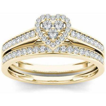 1/2 Carat T.W. Diamond Heart-Frame 10kt Yellow Gold Engagement Ring (Value Of A 2 Carat Yellow Diamond)