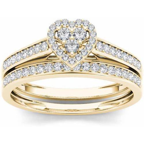 1/2 Carat T.W. Diamond Heart-Frame 10kt Yellow Gold Engagement Ring Set