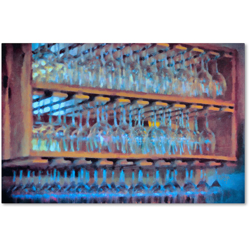 "Trademark Fine Art ""Drinks on the House in Electric Blue"" Canvas Art by Lois Bryan"
