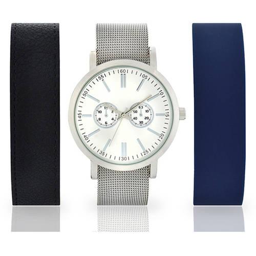 Men's Silver-Tone Watch with 3-Piece Interchangeable Strap Set