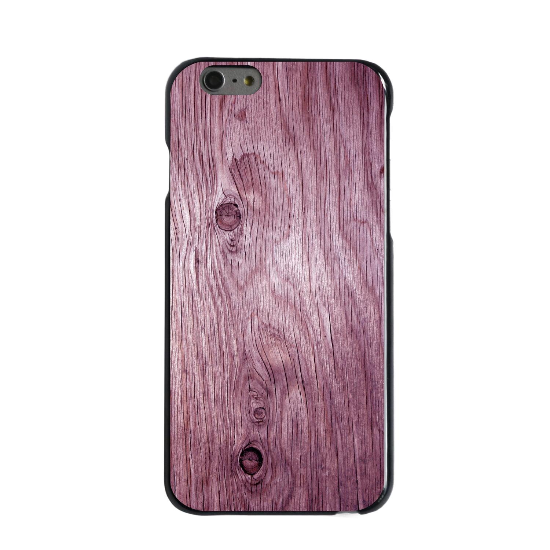 "CUSTOM Black Hard Plastic Snap-On Case for Apple iPhone 6 / 6S (4.7"" Screen) - Pink Weathered Wood Grain"