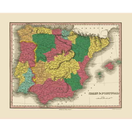 Old Iberian Peninsula Map Spain And Portugal Finley 1833 23 X