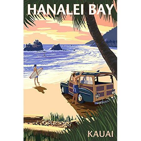 Vintage Art HANALEI BAY Hawaii STICKER (hawaiian kauai north shore travel (Best Time Of Year To Visit Kauai)