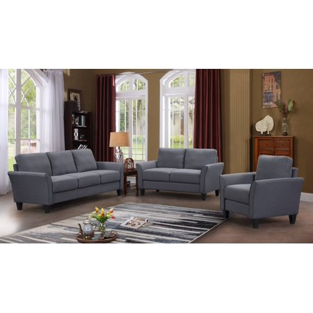 URHOMEPRO Grey Sectional Sofas Set with 3 Seat Sofa, Loveseat and Armchair, Living Room Furniture Sofa with Removable Comfortable Foam Cushions and Wedge-Shaped Back, 500lbs, Grey, A37