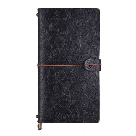 Antique Embossed Travel Journal Notebook Diary Leather Bound Refillable Daily Notepad Lined Blank Grid Paper for Travelers Business Office Sketching & Writing (Leather Bound Notebook)