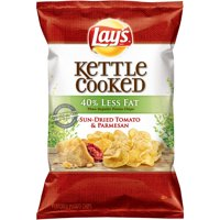 Lay's Kettle Cooked Potato Chips, 40% Less Fat Sun-Dried Tomato & Parmesan, 8 oz Bag