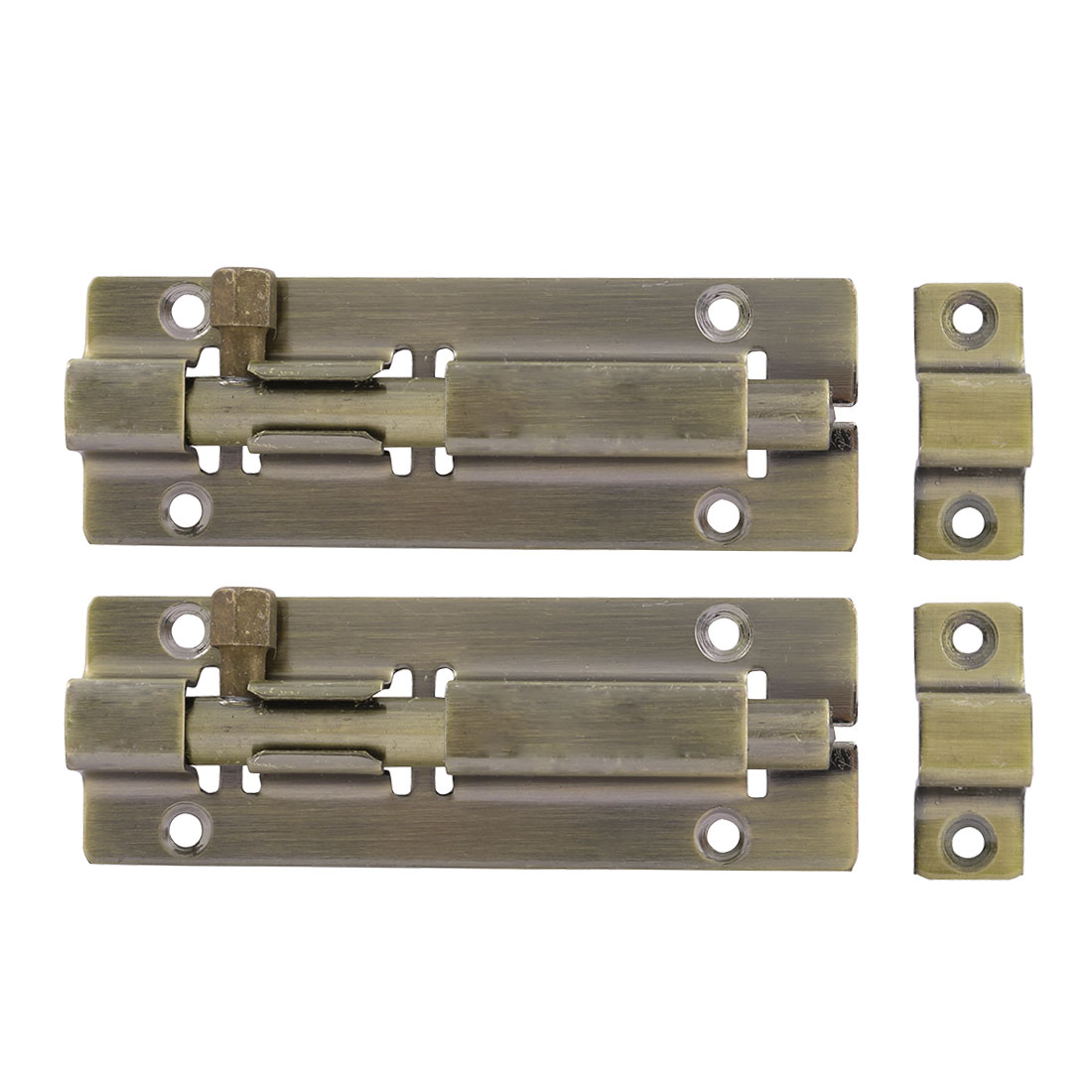 Stainless Steel Door Sliding Lock Barrel Bolt Bronze Tone 4 Inch Length 2 Pcs