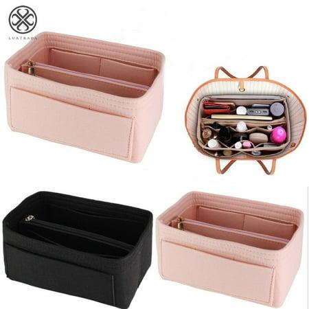 Luxtrada Women Insert Handbag Organiser Purse Felt liner Organizer Bag Tidy Travel Portable (Pink,M) ()