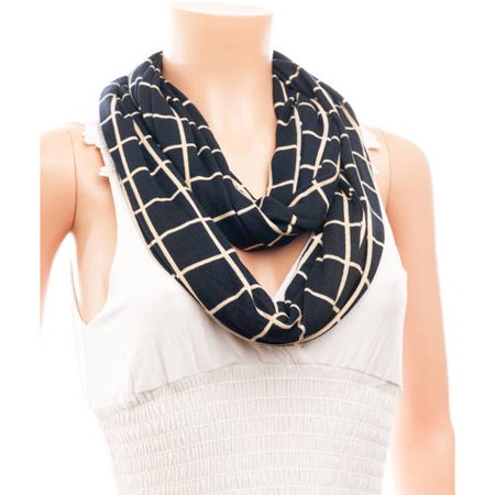 Celik Women's Infiniti Scarves Simple Plaid Pattern On Solid Background