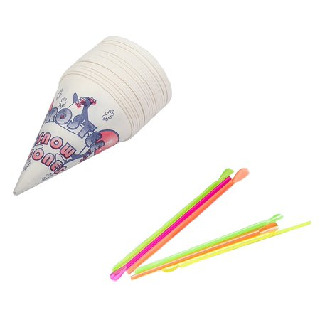 Honeystix Straws - Perfect Stix Snow Cone-Straws- 100 Snow Cone Cups and Assorted Neon Straws (100 Count of Each) (Pack of 200)
