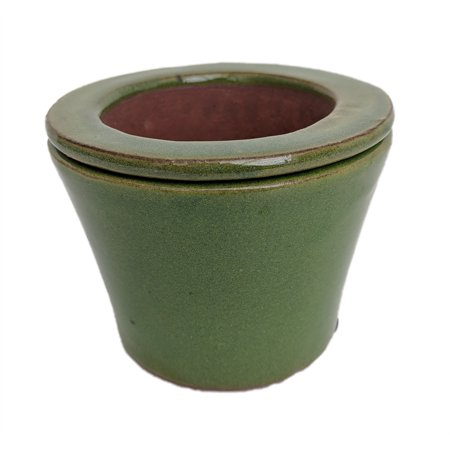 Ceramic Fluted Pot (Self Watering Glazed Ceramic Pot - Green Round - 3 3/4