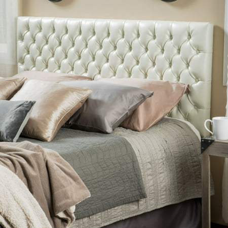 Noble House Elizabeth Queen/Full Button Tufted Ivory Bonded Leather Headboard ()