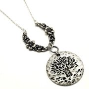 """Antiqued 30"""" Long Tree of Life Disc Pendant and Flower Wreath Adjustable Necklace"""