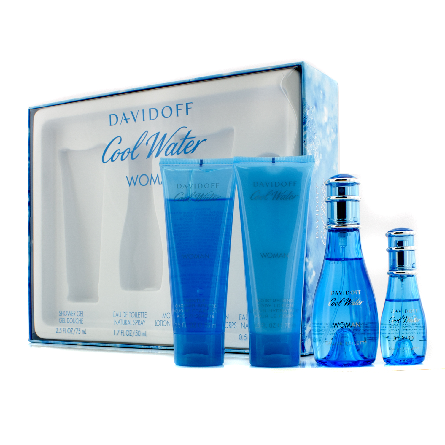 Davidoff - Cool Water Coffret: Eau De Toilette Spray 50ml/1.7oz + Eau De Toilette Spray 15ml/0.5oz + Body Lotion 75ml/2.5oz + Shower Gel 75ml/2.5oz - 4pcs