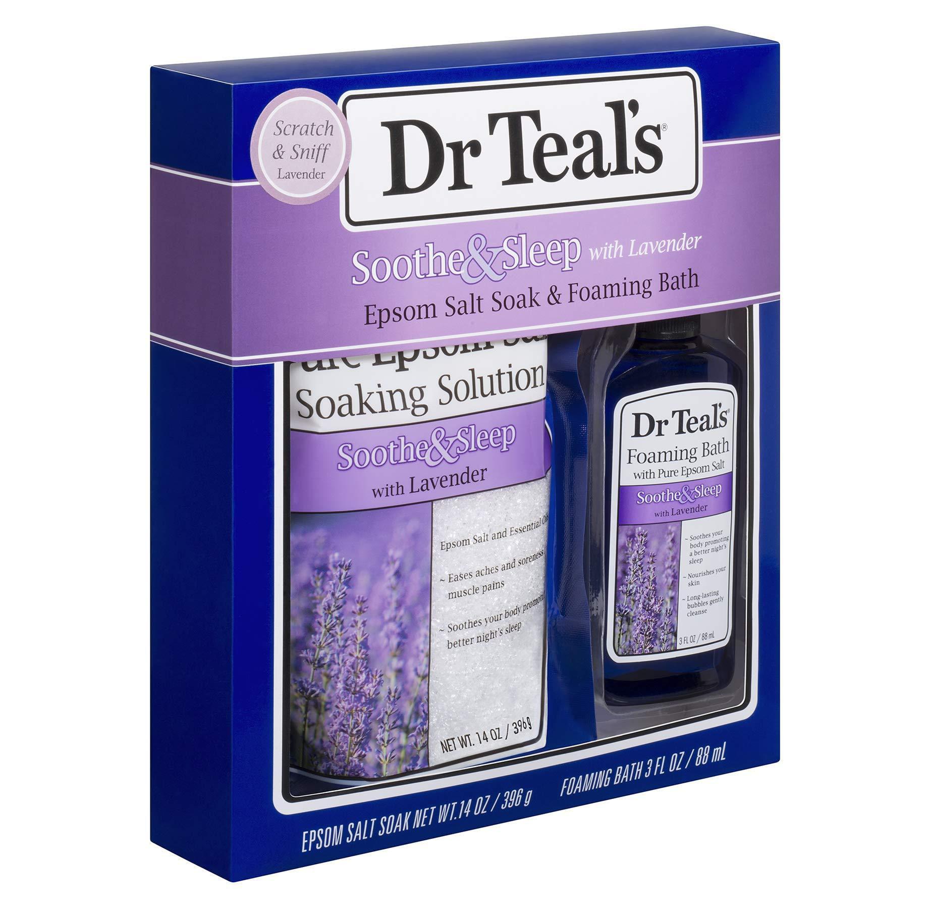 Dr Teal S Lavender Epsom Salt Foaming Bath Oil Sampler Gift Set 2019 Give The Gift Of Relaxation Peaceful Slumber 14 Oz Bag Of Lavender Bath Salts 3 Oz Bottle Of Lavender Foaming Bath Oil Walmart Com Walmart Com