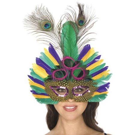 Adult Mardi Gras Peacock Feather Mask (Mardi Gras Peacock Mask)