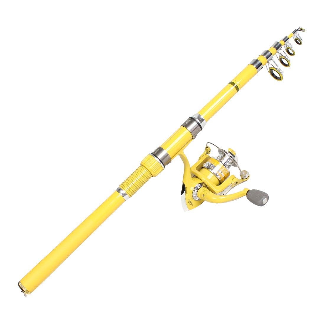 7 Fishhooks 6 Sections Telescopic Fishing Rod Pole Yellow