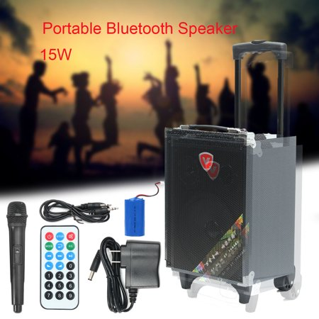 Outdoor Karaoke Machine h Speaker, 15W Portable h Speaker Stereo Multimedia Loudspeaker Support USB/TF/AUX/FM/MP3 Radio with Remote Control and Microphone Portable Stereo Multimedia