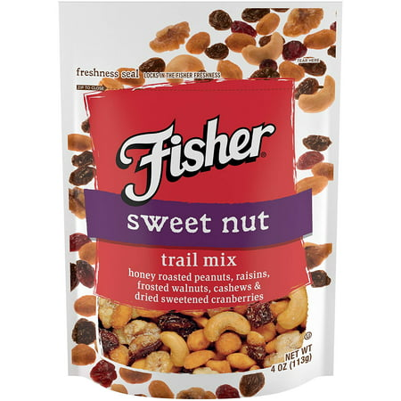 (4 Pack) Fisher Snack Sweet Trail Mix, Stand-Up Bag, 4 oz