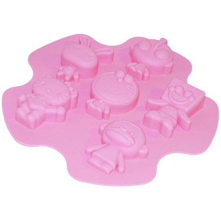 ALEKO SFC04 Heat-Resistant Nonstick Silicone 6-Cavity Cartoon Characters Mold Tray, Pink