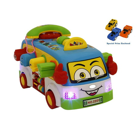 Bezrat Intellectual Shaking School Bus Activity Toy Vehicle with Music, Sounds, and Lights for Toddlers Bus Action With Music, Animal Sounds, Lights and Education. (colors may vary) FREE GIFT INCLUDED