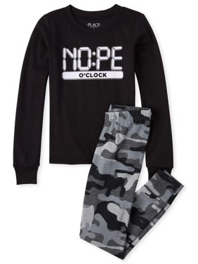The Childrens Place 'Nope O'clock' All Around Camo Print Long Sleeve Pajama Pant Set (Little Boys and Big Boys)