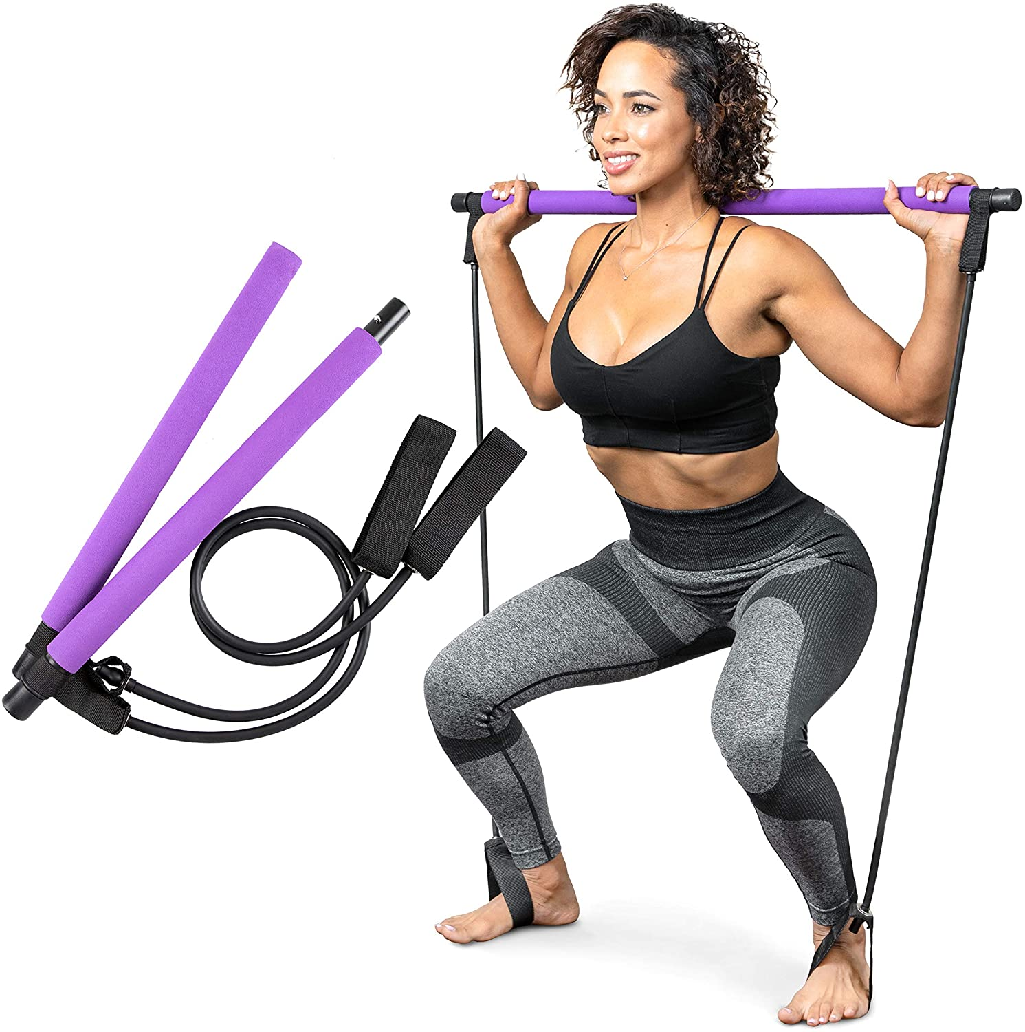 Home Fitness Workout Equipment for Women Pilates Bar Kit with Resistance Bands Exercise Stick